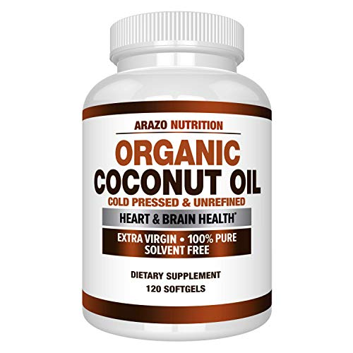 Organic Coconut Oil 2000mg - 100% Extra Virgin Cold Pressed for Weight Support, Skin, Hair, Nails - 120 Softgel Capsules - Arazo Nutrition
