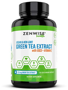 Green Tea Extract with EGCG & Vitamin C - Antioxidant & Immune Supplement - Vegan Skin & Heart Support + Brain Health & Memory Boost - 120 Count