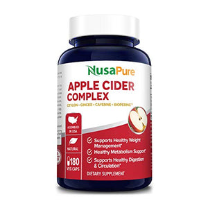 Apple Cider Vinegar Complex - 180 Veggie Caps - Organic ACV and Ceylon Cinnamon, Organic Ginger, Bioperine & Organic Cayenne Pepper - Ideal for Healthy Blood Sugar & Digestion