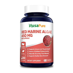 Red Marine Algae 450mg 200 Vegetarian Capsules (Non-GMO & Gluten Free) Supports Joint, Cardiovascular, & Digestive Health, Healthy Immune, Natural Multivitamin