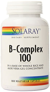 Solaray Vitamin B-Complex 100 | Supports Healthy Hair & Skin, Immune System Function, Blood Cell Formation & Energy Metabolism | 100 VegCaps