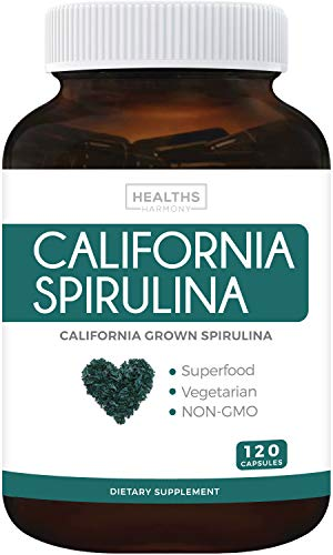 California Spirulina Capsules (Non-GMO) 120 Vegetarian Capsules 500mg - Blue Green Algae Superfood from Spirulina Powder - Grown in California - Gluten Free & Non-irradiated - No Tablets
