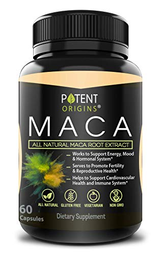 100% Natural Maca Extract 750mg – 60 Capsules – Natural Peruvian Maca Root Powder Supplement – Promotes Energy & Immune Health – Balances Hormones – Pure Extract for Men & Women