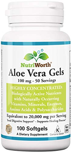 NutriWorth Organic Aloe Vera Supplement Equivalent to 20,000mg- 100 Softgels - Kosher Certified Concentrated Active Digestive Enzymes, Vitamins, Amino Acids, Minerals & Acemannan
