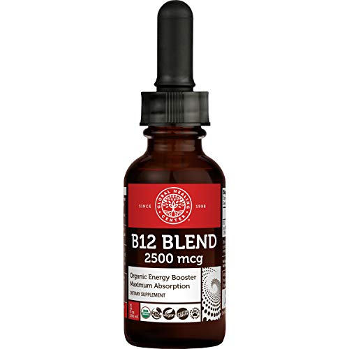 Global Healing Center Vegansafe B12, 2500 mcg Organic Sublingual Liquid Vitamin B12 Drops | 2-in-1 Methylcobalamin & Adenosylcobalamin Blend for Energy, Mood, and Heart Health, 30-Day Supply (1 Fl Oz)