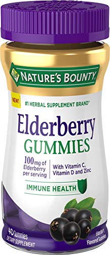 Nature's Bounty Elderberry Gummies, Contains Vitamin A, C, D, E and Zinc, 40 Gummies