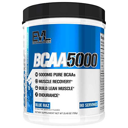 Evlution Nutrition BCAA5000 Powder 5 Grams of Branched Chain Amino Acids (BCAAs) Essential for Performance, Recovery, Endurance, Muscle Building, Keto Friendly, No Sugar (90 Servings, Watermelon)