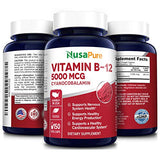 Vitamin B12 - 5000 MCG 150 Veggie Capsules (Non-GMO & Gluten Free) - Max Strength Vitamin B 12 Support to Help Boost Natural Energy, Benefit Heart Function