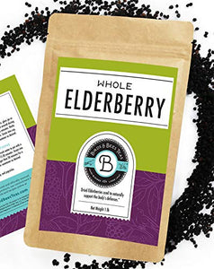 Birds & Bees Teas - Organic Elderberries Dried 1 lb Bulk, Makes Great Black Elderberry Tea and Sambucus Nigra is Known for It's Immune System Booster Properties as Syrup, Popsicles, and Gummies!