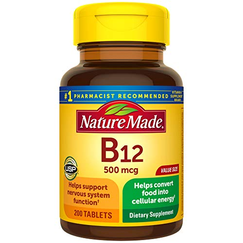 Nature Made Vitamin B12 500 mcg Tablets, 200 Count for Metabolic Health† (Packaging May Vary)