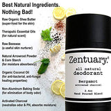 Zentuary Aluminum Free Natural Deodorant. Eliminates Nervous Stress Sweat Odor (Bergamot w/Activated Charcoal) for Women, Men & Teens