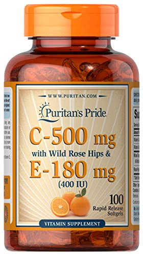 Vitmain C 500 mg & E 180 mg with Rose Hips for Immune & Antioxidant Support by Puritan's Pride for Healthy Skin and Immune System Support 100 Softgels