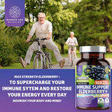 Premium Immune Support Booster, Powerful [10-in-1] Elderberry, Zinc, Vitamin C, E, B6, Echinacea, Garlic, Probiotic & Turmeric Blend. High Potency, 60 Veg Caps