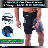 Hip Brace-Groin Wrap for Sciatica Pain Relief Thigh Hamstring Compression Sleeve - Unique Quadriceps Support Hip Flexor Arthritis for Pulled Muscles-Sciatica Nerve Brace Injury for Men (Right Leg)