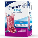Ensure Clear Nutrition Drink, 0g fat, 8g of high-quality protein, Blueberry Pomegranate, 10 fl oz, 12 Count