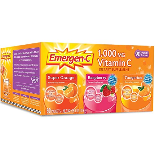 Emergen-C 1,000 mg Vitamin C Dietary Supplement Drink Mix, Super Orange/Raspberry/Tagerine, 90 Packets