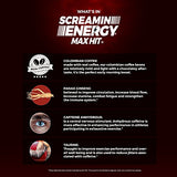 Screamin Energy Max Hit Maximum Strength Energy Drink with Panax Ginseng Extract, Caffeine and B Vitamins - Coffee Mocha Flavor, 24 Count