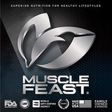 Muscle Feast 100% Whey Protein Blend, Grass Fed & Hormone Free, Blend of Concentrate, Isolate, and Hydrolyzed Whey Protein (5lb, Chocolate)