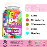 Hemp Jelly Beans for Stress & Anxiety, 50000 MG Premium Hemp Supplement to Reduce Inflammation, Improve Sleep, Boost Mood - 150 Cts