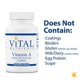 Vital Nutrients - Vitamin A (from Fish Liver Oil) - Supports Immune Function and Vision - 100 Softgel Capsules per Bottle - 25,000 IU