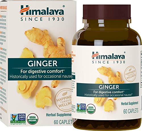 Himalaya Organic Ginger Supplement Equivalent to 4,766 mg of Ginger powder for Nausea, Gas and Occasional Upset Stomach, 2 Month Supply, 60 Caplets
