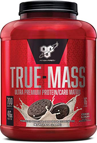 BSN TRUE-MASS Weight Gainer, Muscle Mass Gainer Protein Powder, Cookies & Cream, 5.82 Pound