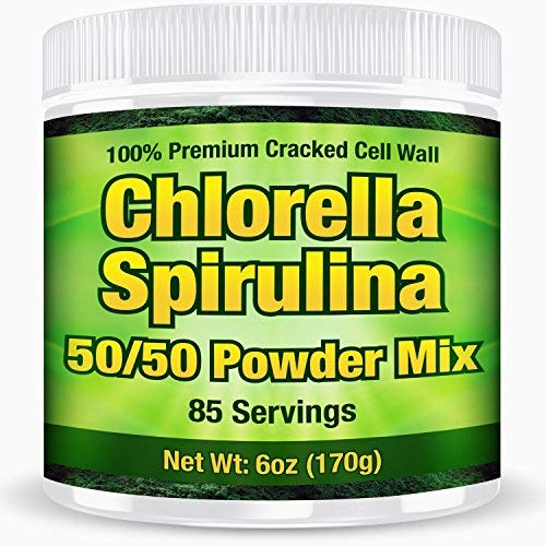 Premium Chlorella Spirulina Powder | 85 Servings | Non-GMO | Sunlight Grown | Deep Green Color | Cracked Cell Wall | Alkalyzing | High Protein | Vegan | Mountain Water | by Good Natured
