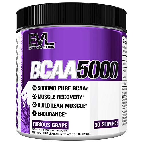 Evlution Nutrition BCAA5000 Powder 5 Grams of Branched Chain Amino Acids (BCAAs) Essential for Performance, Recovery, Endurance, Muscle Building, Keto Friendly, No Sugar (30 Servings, Peach Lemonade)