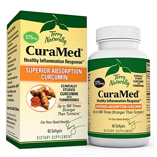 Terry Naturally CuraMed 375 mg - 60 Softgels - Superior Absorption BCM-95 Curcumin Supplement, Promotes Healthy Inflammation Response - Non-GMO, Gluten-Free, Halal - 60 Servings