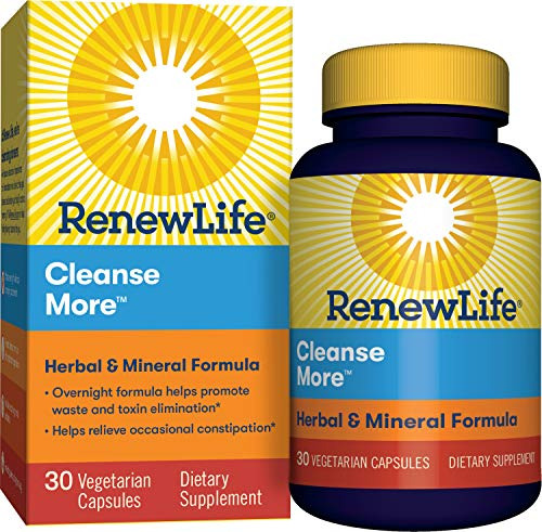 Renew Life Adult Cleanse - Cleanse More, Herbal & Mineral Formula - Overnight Constipation Relief - Gluten, Dairy & Soy Free - 30 Vegetarian Capsules (Package May Vary)