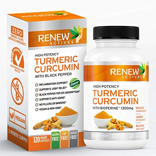 Double Strength Organic Turmeric + Black Pepper: Renew Actives 1300mg Turmeric Curcumin Supplement with Bioperine - Natural Anti Inflammatory Pills for Joint Pain Support - 120 Veggie Capsules