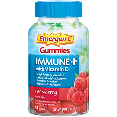 Emergen-C Immune+ Gummies, 750 mg Vitamin C with Vitamin D (45 Count, Raspberry Flavor), Immune Support Dietary Supplement, Caffeine Free, Gluten Free