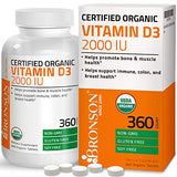 Bronson Vitamin D3 2,000 IU (1 Year Supply) for Immune Support, Healthy Muscle Function & Bone Health, High Potency Organic Non-GMO Vitamin D Supplement, 360 Tablets