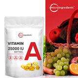 Micro Ingredients Vitamin A 25000 IU, 500 Softgels, Immune Vitamins, Strongly Supports Healthy Vision, Immune System and Healthy Growth & Reproduction. Non-GMO and Soy Free