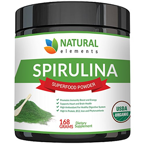 Premium USDA Organic Spirulina Powder - Highest Quality of Blue Green Algae from California & Hawaii – 100% Vegetarian & Vegan, Non-GMO, Non-Irradiated – The Best Green Superfood for Smoothies!