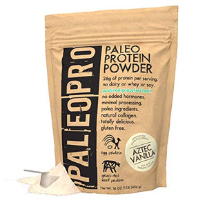 PaleoPro Protein Powder, Gluten Free, Dairy Free, Whey Free, Soy Free, No Added Hormones, Pastured Grass-fed Beef, Minimally Processed Paleo Ingredients, 1lb/454g, About 15 Servings, Aztec Vanilla