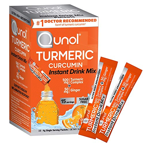 Qunol Turmeric Curcumin Instant Drink Mix, On-The-Go Packets, Orange Flavor, Ultra High Absorption, 500mg Turmeric + 50mg Ginger, Anti-Inflammatory & Joint Support, Dietary Supplement, 15 Servings