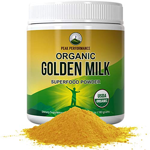 Organic Golden Milk Powder - Best Tasting Gold Milk Tea Latte Superfood Powder by Peak Performance. Keto, Paleo, Vegan with Turmeric, Ashwagandha and 10 Immune Boosting Organic Ingredients Supplement