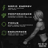 MEG - Military Energy Gum | 100mg of Caffeine Per Piece + Increase Energy + Boost Physical Performance + Spearmint 24 Pack (120 Count)
