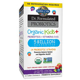 Garden of Life Dr. Formulated Probiotics Organic Kids+ plus Vitamin C & D - Berry Cherry - Gluten, Dairy & Soy Free Immune & Digestive Health Supplement, No Added Sugar, 30 Chewables (Shelf Stable)
