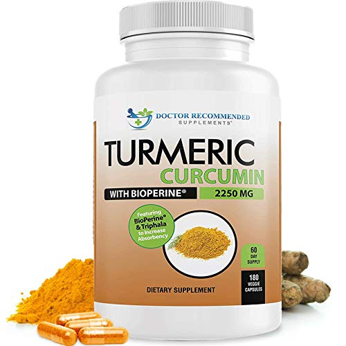 Turmeric Curcumin - 2250mg/d - Veggie Caps - 95% Curcuminoids with Black Pepper Extract (Bioperine) - 750mg Capsules - 100% Organic - Most Powerful Turmeric Supplement with Triphala (180 Count)