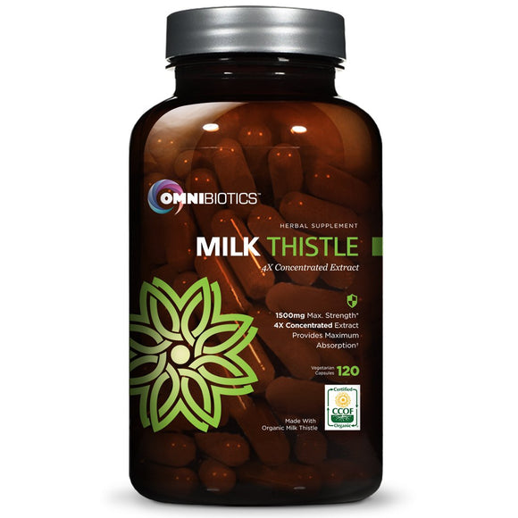 Organic Milk Thistle Capsules, 1500mg 4X Concentrated Extract is The Strongest Milk Thistle Supplement Available. Silymarin is Great for Liver Cleanse & Detox! 120 Vegetarian Capsules