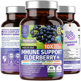 Premium Immune Support Booster, Powerful [10-in-1] Elderberry, Zinc, Vitamin C, E, B6, Echinacea, Garlic, Probiotic & Turmeric Blend. High Potency, Supports a Healthy Respiratory System, 60 Veg Caps