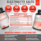 Electrolyte Salts + 40mg Caffeine Rapid Oral Rehydration Pills. Hydration Recovery Powder Supplement for Fast Dehydration Relief + Energy. Active Blend of Salt Minerals for Fluid Health, 120 Capsules