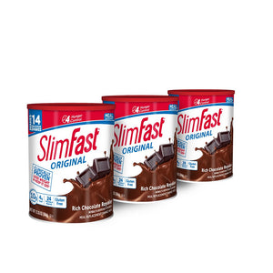 SlimFast Original Rich Chocolate Royale, Mix - Weight Loss Powder - 12.83oz. -  14 servings - Pack of 3