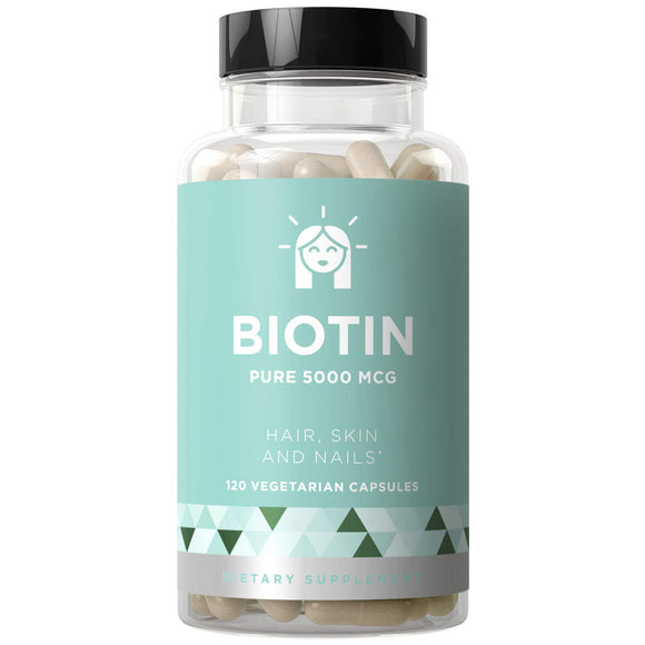 BIOTIN 5000 mcg - Healthier Hair Growth, Stronger Nails, Glowing Skin - 120 Vegetarian Soft Capsules