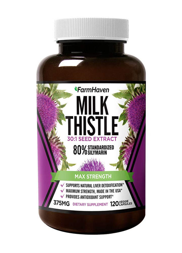 Milk Thistle Capsules | 11250mg Strength | 30X Concentrated Seed Extract & 80% Silymarin Standardized - Supports Liver Function and Overall Health | Non-GMO | 120 Veggie Capsules