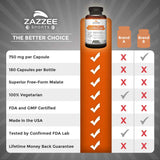 Zazzee L-Citrulline Malate, 180 Veggie Caps, 750 mg, Superior Free-Form, Vegan, Non-GMO and All Natural, Contains Organic Stabilizers
