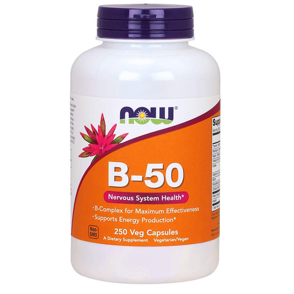 Now Supplements, Vitamin B-50 mg, 250 Veg Capsules