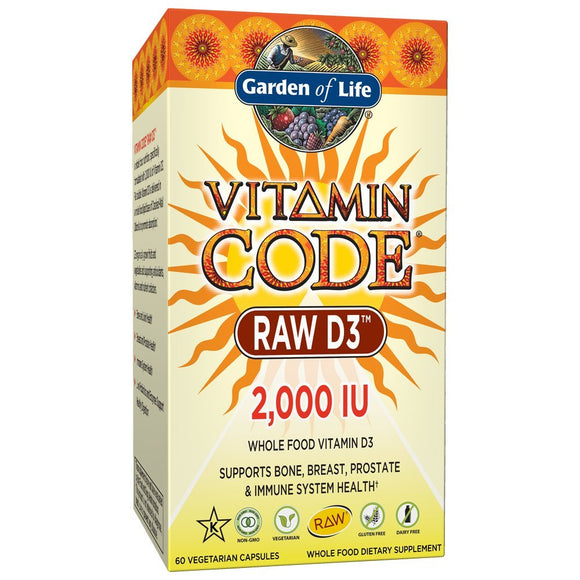Garden of Life D3 - Vitamin Code Whole Food Raw D3 Vitamin Supplement, 2000 IU, Dairy and Gluten Free, Vegetarian, 60 Capsules | D3 with Organic Green Cracked Wall Chlorella Plus Probiotics